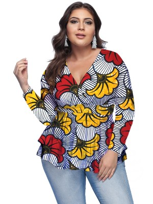 Lavish Big Size Shirt Flower Paint Full Sleeve Gentle Fabric