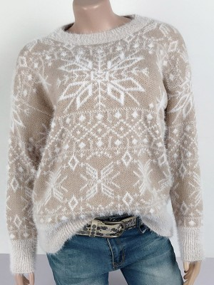 Flirty Khaki Round Collar Snowflake Paint Sweater Ladies Elegance