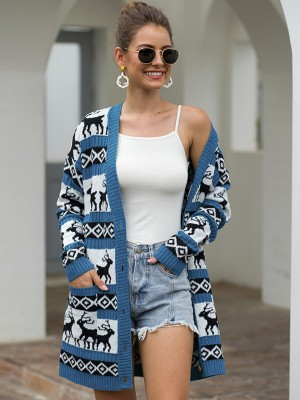 Nautically Blue Long Sleeve Cardigan Elk And Geometric Modern Fashion