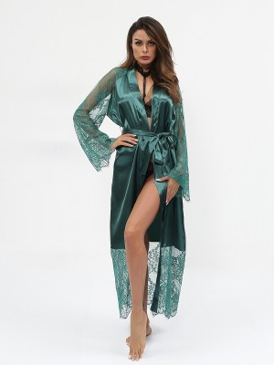 Blossom Couture Dark Green Cardigan Bedgown Lace Trim Waist Knot