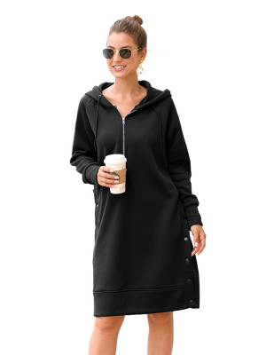 Exotic Hooded Neck Midi Dress Large Size Casual Comfort