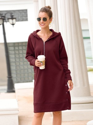 Ladies Zipper Hooded Midi Dress Queen Size Natural Fit