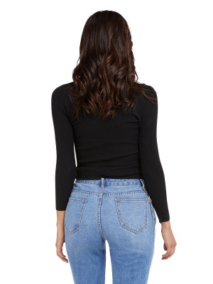 Likable Black Drawstring Crop Long Sleeve Sweater Casual Wear