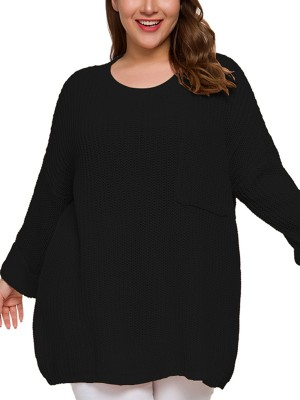 Splendor Black Crew Neck Plus Size Sweater Full Sleeve On-Trend Fashion