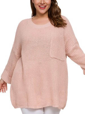 Vivid Pink Long Sleeve Big Size Sweater Pocket Poolside Party