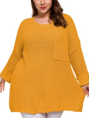 Airy Yellow Large Size Sweater Round Collar Fast Shipping