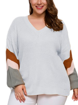 Irregular Dark Gray Dropped Shoulder Diagonal Stripe Sweater Sexy Ladies