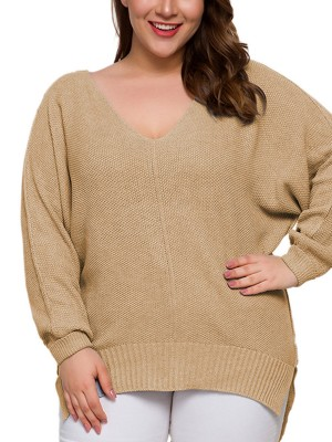 Fresh Khaki High-Low Hem Long Sleeve Sweater For Every Occasion