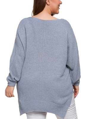 Absorbing Gray Big Size Sweater Solid Color Sexy Ladies