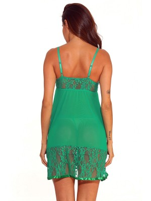 Staple Green Open Back Babydoll Lace Mid-Thigh Love Forever
