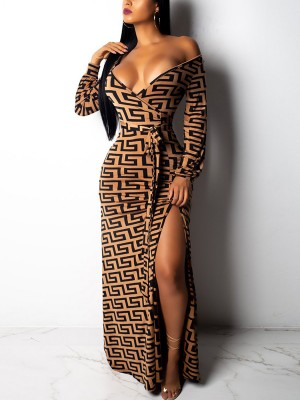 Enthralling Brown Maxi Dress High Slit Plunge Collar For Every Occasion
