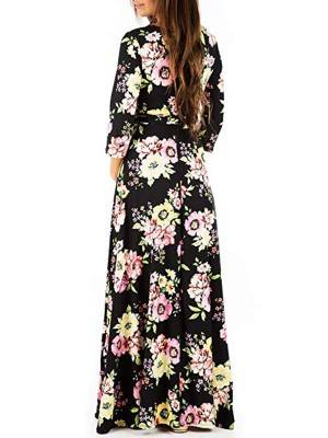 Glam Maternity Printed Maxi Dress Waist Tie Sensual Curves