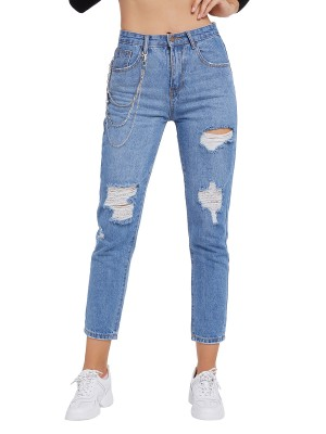 Feminine Blue Ripped Jeans Pockets Chain Zipper Snug Fit