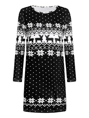 Hot Stuff Black Geometric Print Retro Sweater Dress Outfits
