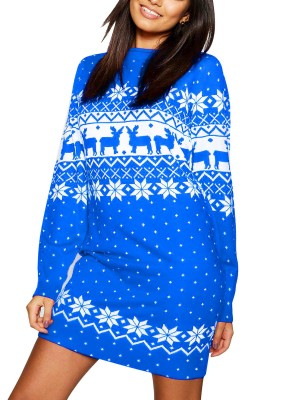 Blue Full Sleeve Sweater Dress Chiristmas Print Feminine Charm