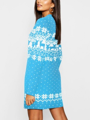 Formal Light Blue Sweater Dress Christmas Paint Crew Neck Comfort