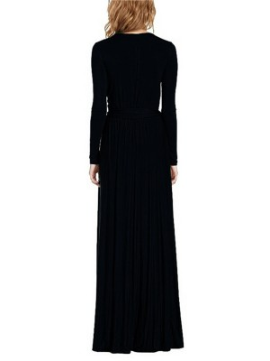 Entrancing Black Long-Sleeved High Slit Maxi Dress For Sexy Women