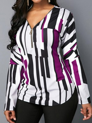 Incredible Purple Long Sleeves V Neck Top Plus Size Unique Fashion