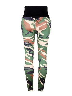 Cool Army Green Camo High Rise Leggings Hip Pleated Women's Clothing