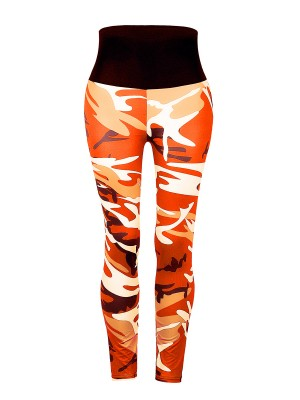 Homely Orange Patchwork Elastic Leggings Ankle Length Latest Clothes