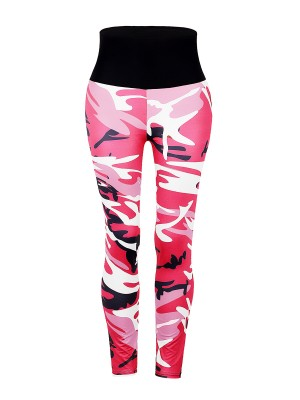 Unvarnished Red Camouflage Print Leggings High Waist Slim Fit