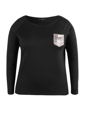 Fascinating Black Sequin Chest Pocket Sweatshirt Big Size Feminine Fashion