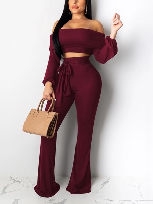 Best Price Wine Red Off Shoulder Top High Rise Tie Pants Slim
