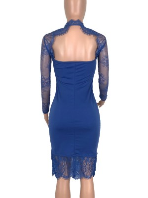 Slinky Royal Blue Long Sleeve Evening Dress Lace Patchwork Unique Fashion