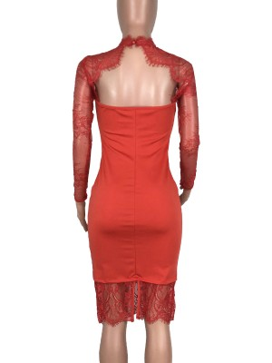 Exclusive Red Hollow-Out Evening Dress Lace Patchwork High Elasticity