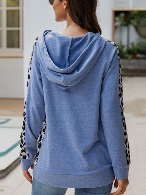 Sexy Ladies Blue Drawstring Hoodie Pockets Full Sleeve Womens Clothes
