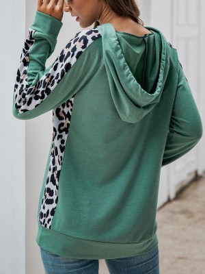 Stretchable Green Leopard Patchwork Hoodie Front Pocket Holiday