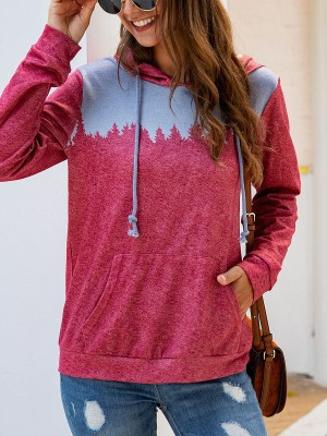 Desirable Red Patchwork Hooded Top Front Pocket Streetstyle