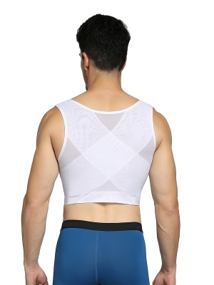 Defining Moment White Mens Cropped Shapewear Cross Mesh Slimming Waist