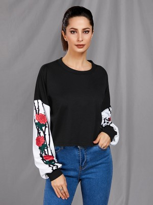 Splicing Long Sleeve Flower Print Sweatshirt Fast Shipping