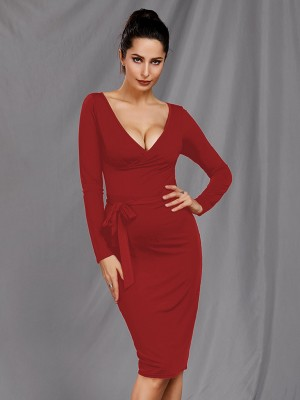 Gracious Red Deep-V Neck Full Sleeve Midi Dress Form Fitting
