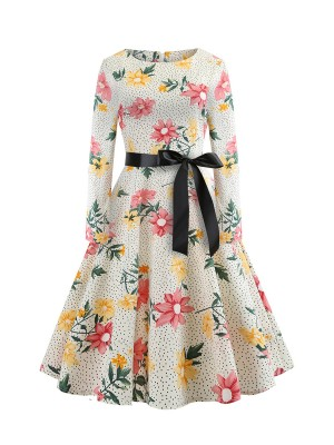 Attractive Long Sleeves Waist Knot Skater Dress Feminine Grace