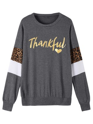 Modest Dark Gray Sweatshirt Crew Neck Leopard Print Trend For Women