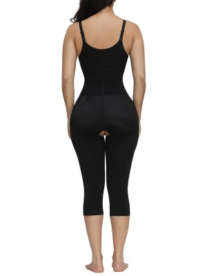 Haute Contour Black Full Body Shaper Straps Open Crotch Tailored Shape