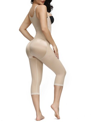 Natural Shaping Skin Color Zipper Midi Length Full Body Shaper Flatten Tummy