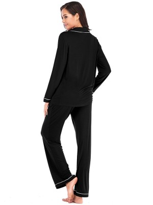 Super Faddish Black Modal Pajamas Pocket Turndown Collar Slim