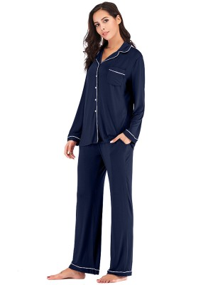 Slim Navy Blue 2-Piece Pajamas Long Sleeve Full Length Allover Comfort
