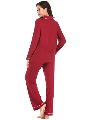Classic Wine Red Nightwear Set Button Front Pockets Skinny Girl