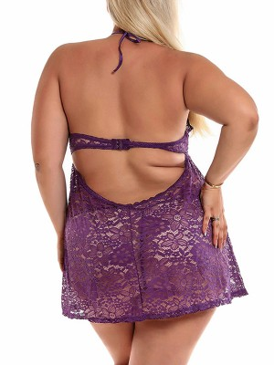 Glossy Purple Floral Print Babydoll Hooks Lace-Up Chic Online