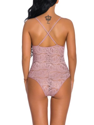 Alluring Light Pink High Cut Plunge Neck Lace Teddy Comfort