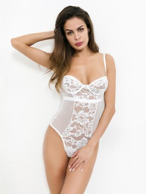 Luxurious White Teddy High Cut Patchwork Lace Online Affordable