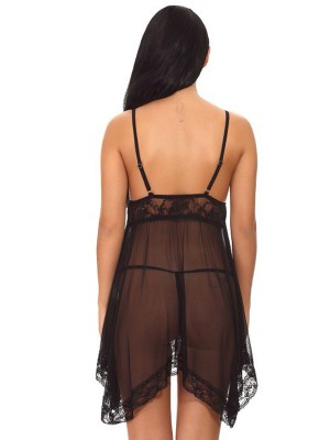 Delightful Black Lace Trim Babydoll Mesh Open Back Private Fashion