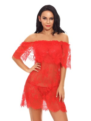 Garnet Red Babydoll Eyelash Lace Off-Shoulder Slim Style