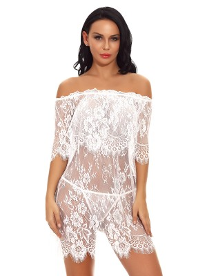 Free Cozy White Mesh Sheer Off Shoulder Babydoll Lace Best Materials