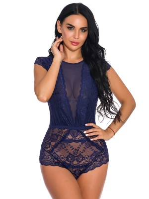 Temptation Dark Blue Lace See-Through Tight Teddy Halter Dreamgirl