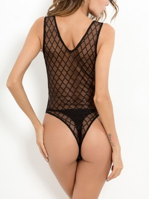 Perfection Black Fishnet Teddy Tie Lace-Up Plunging Neck High Grade Girls